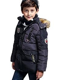 FEOYA - Blouson Manteaux Enfant Garçons Mi-Longue Doudoune Renforcé à Capuche Poil - Rayures - 3 couleurs - Taille XS-XL