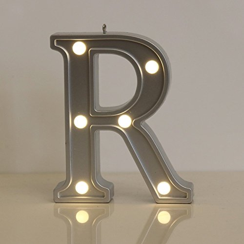 LED Alphabet Silber Buchstaben Lichter Festzelt Licht Zeichen Batteriebetrieben für Geburtstag Party Hochzeit Empfänge Holiday Home Baby Bath Bridal Shower Bar Decor(R) (Zeichen Bridal Shower)