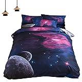 Bettwäsche Galaxy Set Baumwolle 3D Digitaldruck Weltall 2 Teilig Bettbezug 150*210CM Kopfkissenbezüge(x1)48*74CM Jungen Mädchen (150 x 210 cm, Lila)