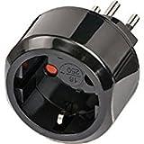 Brennenstuhl Reisestecker/Reiseadapter (Reise-Steckdosenadapter für: Schweiz Steckdose und Euro Stecker) schwarz