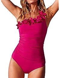 DELEY Donne Sexy Obliquo Fiore Stile Imbottito Costumi Da Bagno Bikini Set Monokini