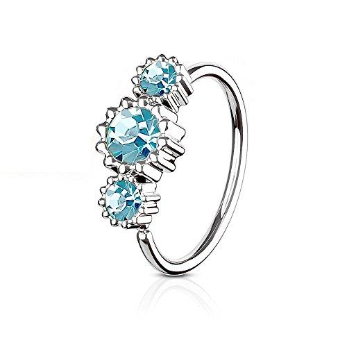 eeddoo Nasen-Piercing Ring Kristall biegbar Blau Edelstahl Blau