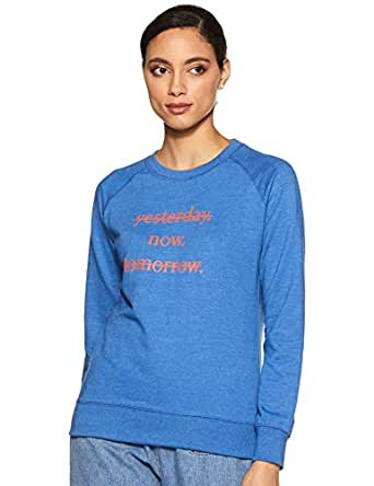Amazon Brand - Symbol Women's Cotton Sweatshirt (AW18WNSSW43_Cobalt Blue Melange_X-Small)
