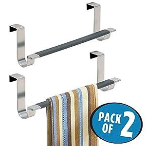 mDesign Juego de 2 toalleros de baño sin Taladro – Práctico toallero Colgante para Puertas – Modernos toalleros para…