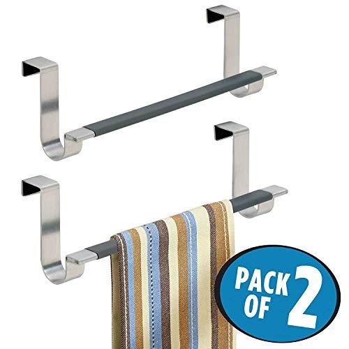 mDesign Juego de 2 toalleros de baño sin taladro - Práctico toallero colgante para puertas - Modernos toalleros para baño o cocina de acero inoxidable cepillado - plateado