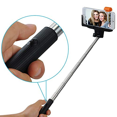 Mobilefox® Selfie Stick telescopico Bluetooth/wireless per IOS/Android, Samsung Galaxy S6/S6 edge/S5/S4/S3/A7/A5/A3/Mini/Alpha, ecc. Apple iPhone 6 Plus/6/5S/5 C/5/4S/ 4, Sony Xperia Z4/Z3/Z2/Z3/Compact ecc. HTC One (M7) (M8) (M9)/Mini/Desire 500/820/620 ecc., LG G3/G3 S/G2/G2 Mini/ecc. Motorola Moto G/E/X ecc., Huawei Ascend ecc.
