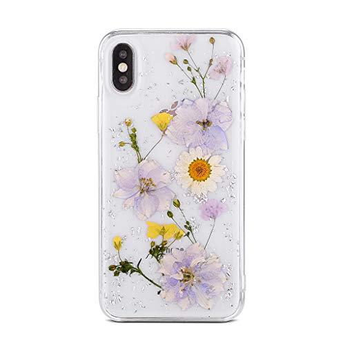 Bakicey iPhone 8 Hülle, iPhone 7 Handyhülle Getrocknete Blumen Kristall Gel Schutzhülle Handgefertigt Immerwährende Blume Bumper Case Cover Schale Schutzhülle für iPhone 7/ iPhone 8 Lila 04