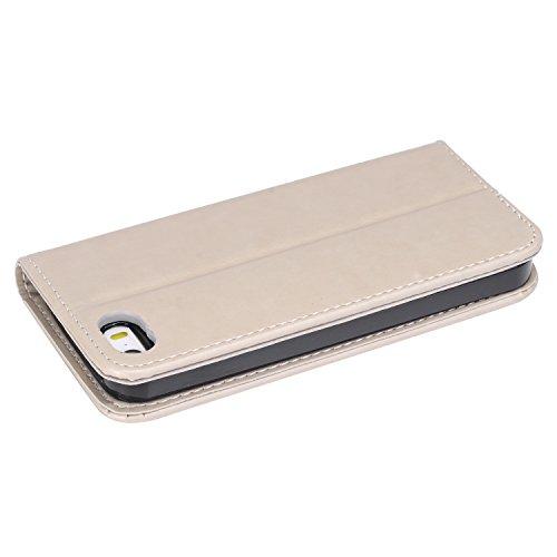 iPhone 5 SE 5S Custodia in pelle,iPhone 5S Cover Portafoglio Elegante,Felfy Puro Colore Premium Simpatico Panda Stampato Modello Copertura di Vibrazione pelle a Libro Bookcase Pieghevole pelle Cover c Grigio