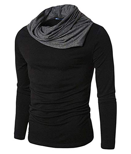 Fashion Gallery Men's Cotton Regular Fit Full Sleeve Cowl Neck T-shirt (Black, Medium)
