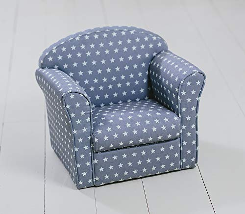 Sue Ryder Children's Armchair Grey with White Stars Girl Boy Seating Chair Bedroom Playroom