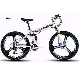 Bike Pieghevole Mountain Bicicletta smorzamento Trasmissione in Lega di Alluminio 24/26 Pollice Freno a Disco Doppio,White