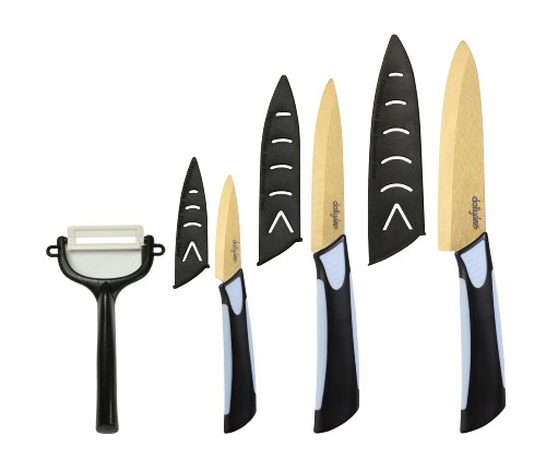 Dailycious ®, Lot de 4 Pièces Céramique TITANIUM lame Gold// Manche Bi-Color ABS Noir/Silicone Gris//1 Couteau chef 15cm +1 Couteau universel 12,5cm + 1 Couteau office 7,5cm + 1 éplucheur + fourreaux de protection