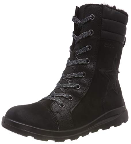 ECCO Mädchen Janni Combat Boots, Schwarz (Black 51052), 32 EU (Mädchen Boots Combat)