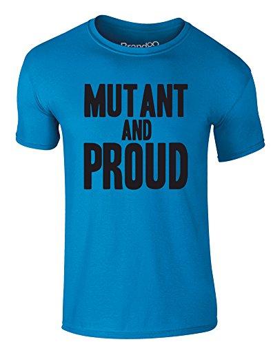 Brand88 - Mutant and Proud, Erwachsene Gedrucktes T-Shirt Azurblau/Schwarz