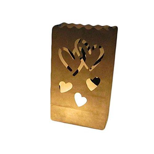 Windy5 Doppel-Herz-Stern Flammenhemmende Papier Kerze Partei Luminary Tasche Feuerbeständige Tasche