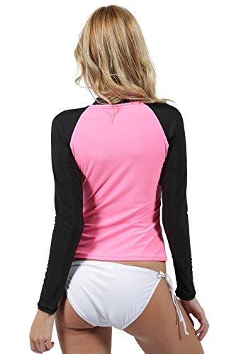 Ingear Ladies Rash Guard Long Sleeve Surf Shirt Swimwear Pink/Black