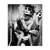 MINRAN DECOR Impression sur Toile Art Mural Belle Femme Noyau de Peinture Tableau Artwork Moderne Décoration d'intérieur Bar Salle de Bain Toilette Décoration, 1, 60x80cm