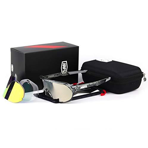 Kamiwwso Dreiteilige Fahrradbrille Sportbrille für Outdoor Black Frame Gold Label