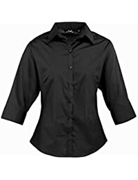 Women'3/4 s Work, poplin Bluse kurzarm Shirt, Damen