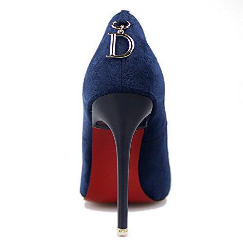 AalarDom Femme Dépolissement Couleur Unie Pointu Tire Chaussures Légeresavec Pendentif De Saphir-Décoration Métal