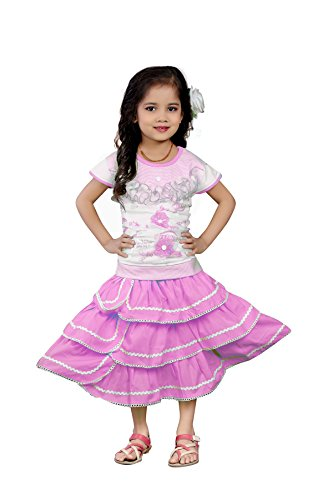 White World Baby Girls Pink color Birthday Party wear Frock Dress S.B