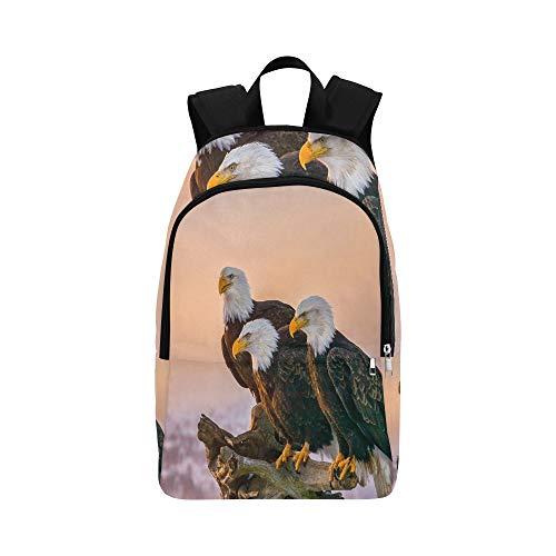 DREI amerikanische Weißkopfseeadler-Stange EIN Stockfoto Zufällige Daypack-Reisetasche College-Schulrucksack für Herren und Frauen -