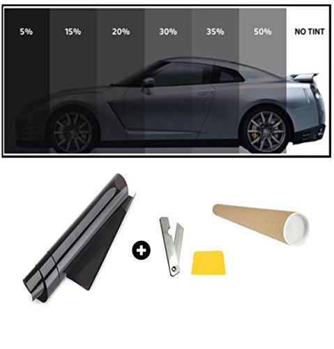 flexzon 76cm x 6 Metri Pellicola Oscurante per VETRI, Auto, Nero 5% VLT (Super Nero)