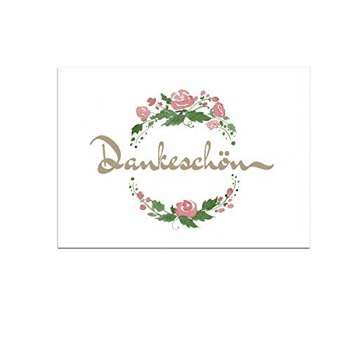 15 schöne Dankeskarten (Aquarell Muster) mit 15 Umschlägen im Set - Danksagungskarten, Danke sagen nach Hochzeit, Geburt, Baby, Taufe, Geburtstag