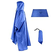 Rain Poncho Coat 3 in 1 Multifunctional Portable Raincoat with Hood Hiking Camping Mat Cycling Rain Cover Poncho for Outdoor Activities
