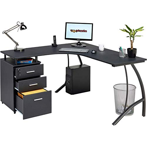 Large Corner Computer Desk with 3 Drawers and A4 Filing Matching other Piranha Graphite Black Effect Home Office Furniture - Regal PC 28g