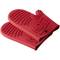 Levivo Set de Guantes de Cocina de Silicona - Manoplas para Ollas y Hornos Resistentes al Calor - Guantes de Horno Antideslizantes, Rojo 30 x 20 x 5 cm