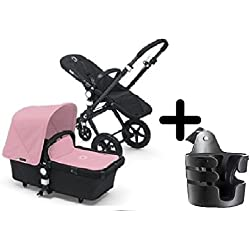 Bugaboo Cameleon 3 Stroller 2015, Black Frame and Black Base With New Extendable Sun Canopy (Soft Pink) + Bugaboo Cup Holder by Bugaboo