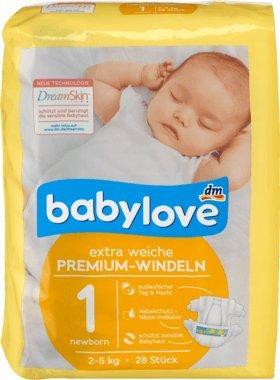 babylove Windeln Premium extra weich Größe 1, newborn 2-5kg, 1 Packung mit 28 Stück