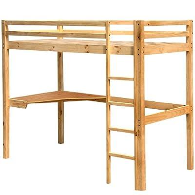 Miadomodo - HBT01 - Cama alta para niños - Con escritorio y escalera