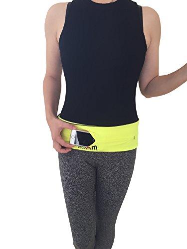boomyoursports cintura da corsa marsupio cintura con un grande cerniera, asciugatura rapida, più la misura, (Neon Viaggi Cintura)