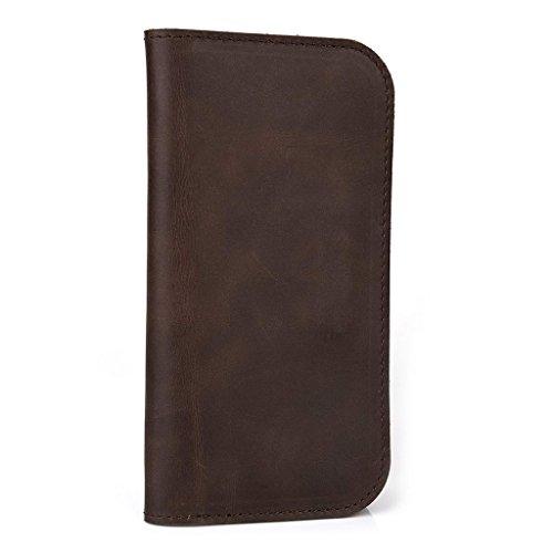Étui portefeuille en cuir véritable pour Samsung Galaxy Core/S4Mini peau marron
