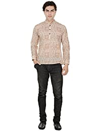 Beautiful Straight Printed Cotton Cream Men's Short Kurta from the house of Aprique Fab