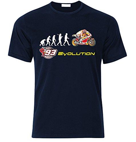 Biker EVOLUTION HONDA RC213V Moto GP 93 Marc Marquez Fan T Shirt T-SHIRT Navy Blau