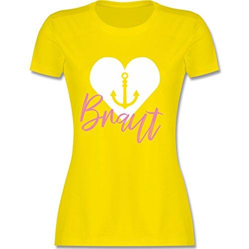 JGA Junggesellinnenabschied - Braut Anker - Damen T-Shirt Rundhals Lemon  Gelb