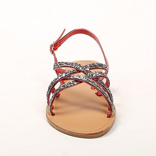 Ideal Shoes–Sandali con cinturini incrociati e strassées Maira Rosso