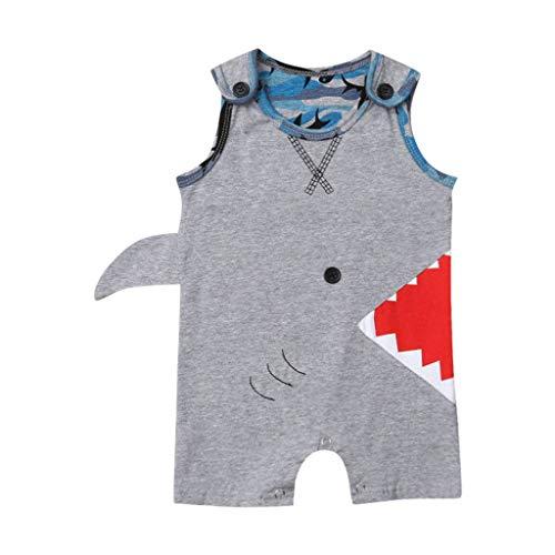 WUSIKY Baby Mädchen Outfits Sommer, Neugeborenes Baby, Kleinkind Kind 3D Cartoon Shark Druck Strampler Kostüm Bodysuit Lässige Mode Shirt Set Geschenk für Kinder - Shark Kleinkind Und Kinder Kostüm
