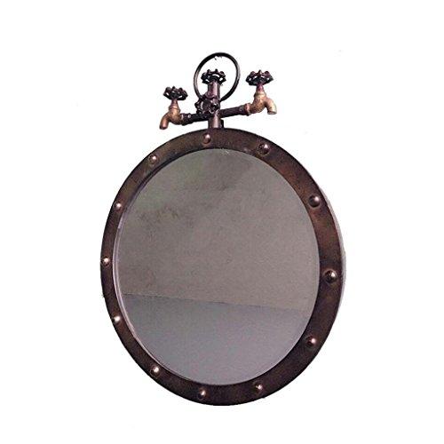 Specchio specchio rotondo di ferro vento industriale retrò tubazione acqua barber shop specchio flessibile vintage nostalgia parrucchiere wall-mounted specchio specchio