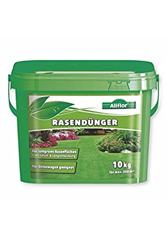 ALLFLOR® Rasendünger mit Sofort - & Langzeitwirkung - 10 kg - max. 250 m² - Rasenpflege mit bis zu 3 Monaten Langzeitwirkung für Spiel-, Sport- und Zierrasenflächen