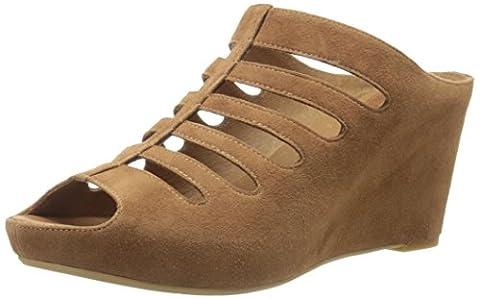 Johnston & Murphy Women's Tess Wedge Sandal, Dark Camel, 7.5 M US