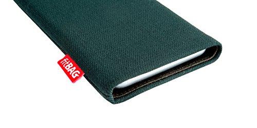fitBAG Rock Weiß Handytasche Tasche aus Textil-Stoff mit Microfaserinnenfutter für Apple iPhone 3Gs 16GB 16 GB Rave Smaragd