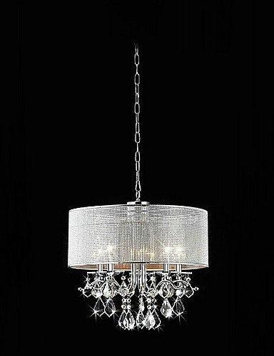 Wie&Joe moderni 5 - Luci luce di pendente di cristallo con paralume in tessuto , 220-240v
