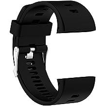 Correa de reloj de recambio–suave silicona hebilla de metal correa de hebilla de reloj muñeca reloj banda pulsera para polar V800GPS reloj deportivo con herramientas, color negro