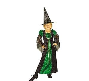 Halloween - Disfraz de Bruja para niña con sombrero, color verde, infantil 8-10 años (Rubie