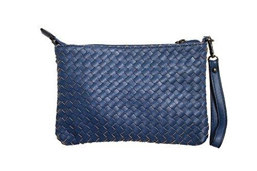 Cavoir Valentina - Pochette - Borsa Donna In Pelle - Borsetta / Tracolla / Tracolla - Giallo / Verde / Rosso / Blu- H: 16cm, L: 4cm, L: 24cm Blu