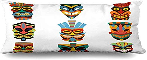 GFGKKGJFF0821 Tiki Hawaiian Tribal Maske Skulptur Polynesian Totem Stammesinsel Maya Body Pillow Covers 50,8 x 137,2 cm Halloween Weihnachten Thanksgiving Day Geschenke für Mädchen -